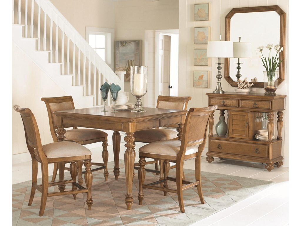 Shown with Landscape Mirror, Counter Height Dining Table, and Counter Height Barstools