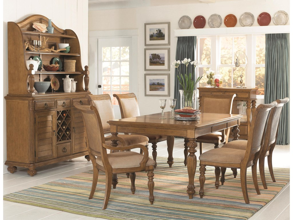 Shown with Rectangular Leg Table, Arm Chairs, Side Chairs, and Buffet with Hutch