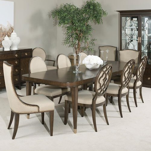American Drew Grantham Hall 9 Piece Table and Chair Set with 2 20
