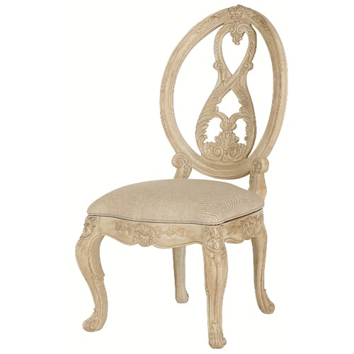 American Drew Jessica McClintock Home - The Boutique Collection Splat Oval Back Side Chair with Scroll Legs