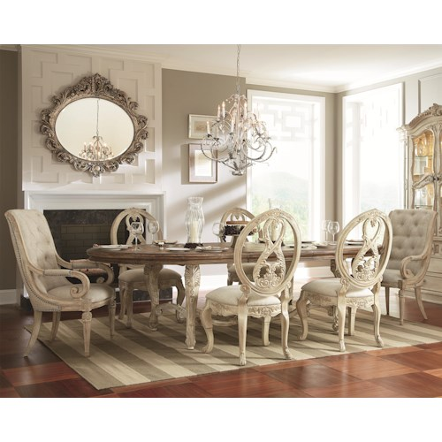 American Drew Jessica McClintock Home - The Boutique Collection 7 Piece Oval Dining Table with Splat Back & Upholstered Arm Chairs