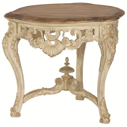 American Drew Jessica McClintock Home - The Boutique Collection Round Carved Tripod End Table with Cabriole Legs