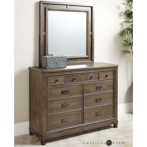 American Drew Park Studio Contemporary 9 Drawer Dresser and Mirror Set, Drop Top Center Drawer with Media Storage