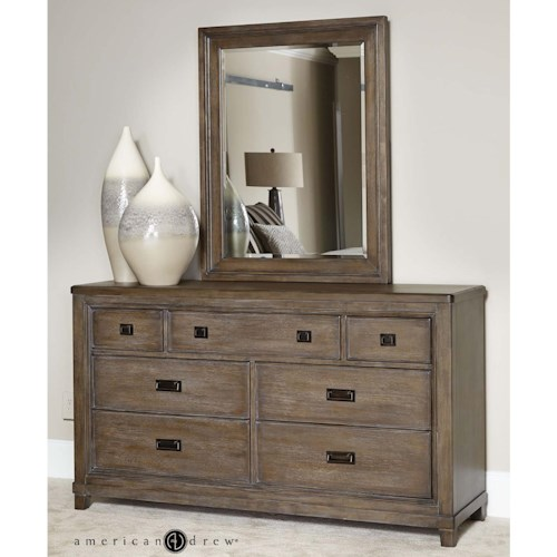 American Drew Park Studio Contemporary 7 Drawer Dresser and Mirror Set