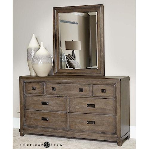 American Drew Park Studio Contemporary 7 Drawer Dresser and Mirror Set