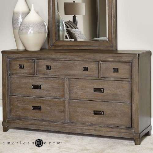 American Drew Park Studio Contemporary 7-Drawer Dresser with Jewelry Tray and Cedar-Lined Bottom Drawers