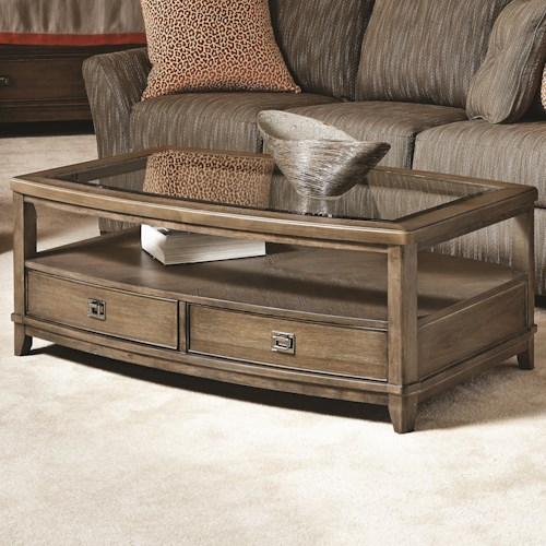 American Drew Park Studio Contemporary Rectangular Cocktail Table with Glass Top and 2 Drawers and 1 Shelf