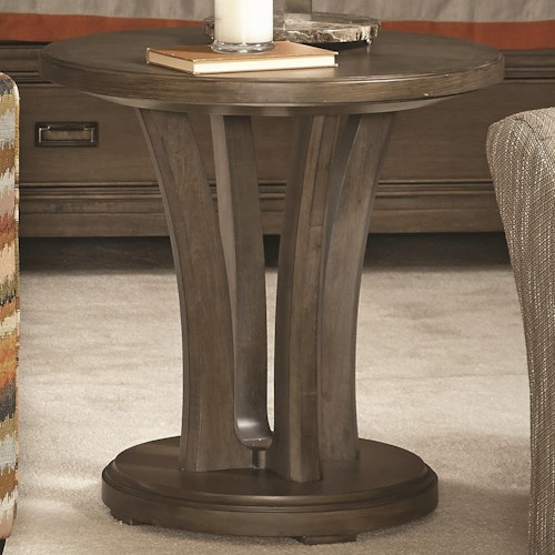 American Drew Park Studio Contemporary Round Lamp Table with Pedestal Base