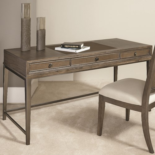 American Drew Park Studio Contemporary Writing Desk with 3 Drawers and Leather Top