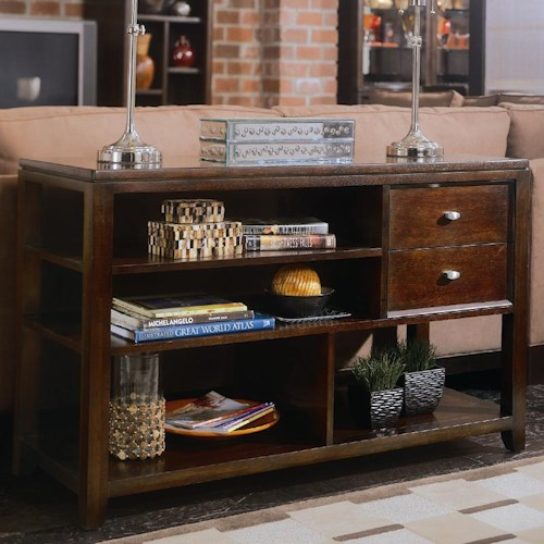 American Drew Tribecca Sofa Table with 2 Drawers and 4 Open Shelves