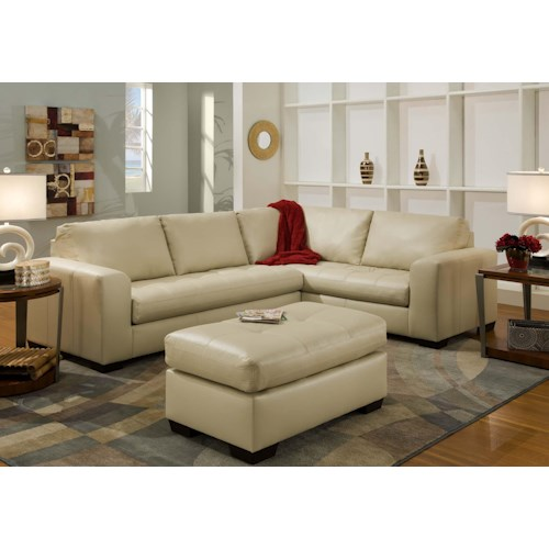 American Furniture 1230 Contemporary Sectional Sofa with Corner Construction