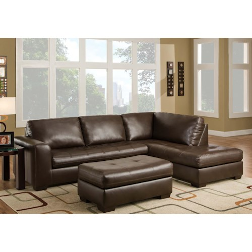 American Furniture 1230 Contemporary Sectional Sofa with Left Side Chaise