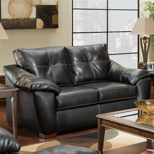 American Furniture 1250 Loveseat with Pillowed Arms and Exposed Wood Feet
