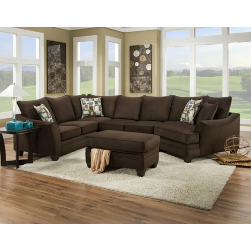 Vendor 610 3810 Sectional Sofa that Seats 5 with Right Side Cuddler