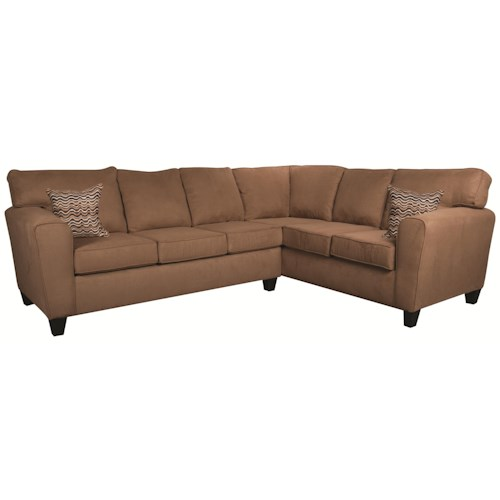 Morris Home Furnishings Chaz 2-Piece Sectional in Mocha