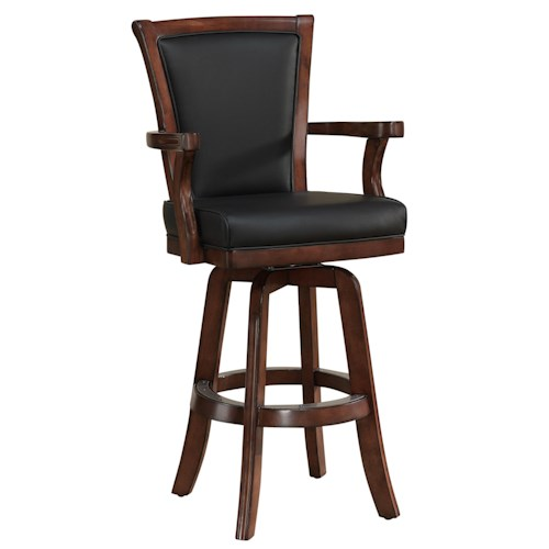 American Heritage Billiards Camden Auburn Bar Stool with Upholstered Back and Seat with 360-Degree Swivel