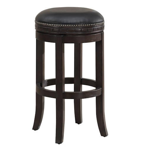 American Heritage Billiards Crescent Sonoma Round Swivel Stool with Adjustable Leg Levelers