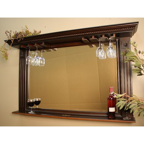 American Heritage Billiards Napoli Bar Mirror wtih Stemware Holder and Display Shelf