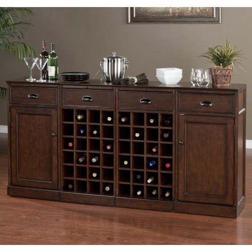 American Heritage Billiards Natalia 4-Piece Modular Bar with 2 Wine Units