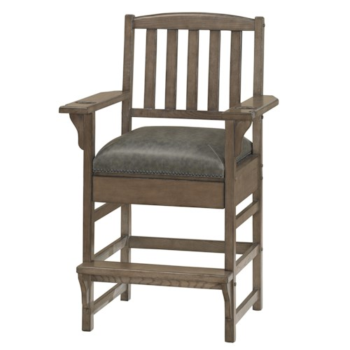American Heritage Billiards Quest King Chair with Slat Back and Hidden Storage Drawer