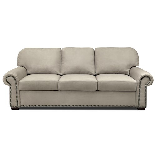 American Leather Comfort Sleeper - Makayla Queen Plus Roll Arm Sofa Sleeper w/ Nailhead Trim