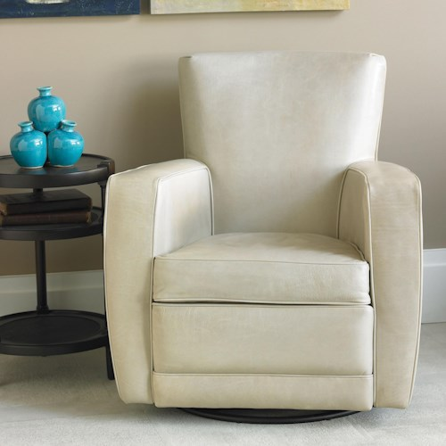 American Leather Ethan  Contemporary Swivel Accent Chair