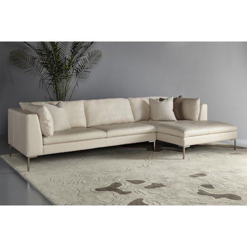 American Leather Inspiration Contemporary Sectional with Left Arm Chaise