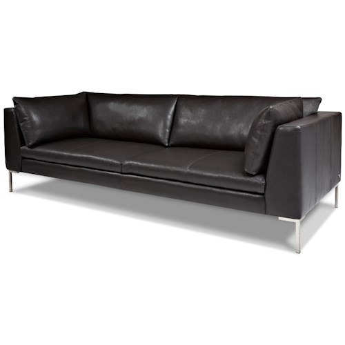 American Leather Inspiration Contemporary Sofa with Stainless Steel Base