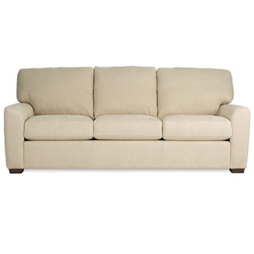American Leather Kaden Transitional Sofa with Wood Legs
