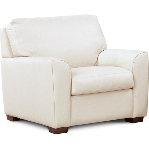 American Leather Kaden Casual Chair with Wooden Block Feet