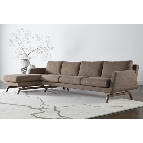 American Leather Nash Contemporary Sectional with Right Arm Chaise and Solid Walnut Legs