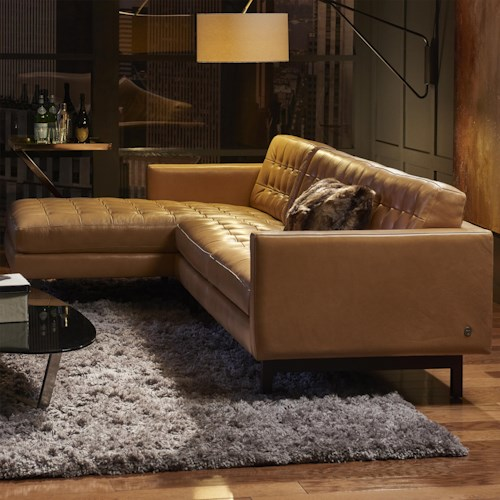 American Leather Parker Casual Sectional with Right Arm Chaise and Tufted Seat
