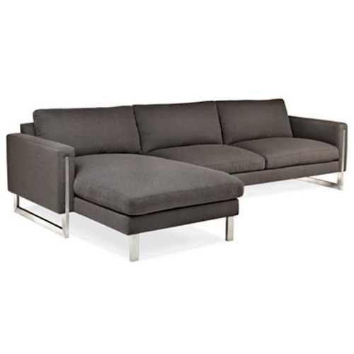 American Leather Savino Contemporary Chaise Sofa with Metal Legs