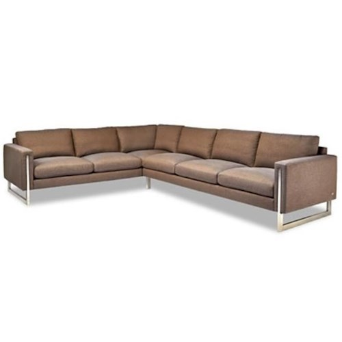 American Leather Savino Contemporary Sectional Sofa with Track Arms and Metal Legs