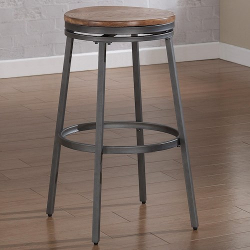 American Woodcrafters Barstools Backless Stool with Metal Frame and Swivel Seat