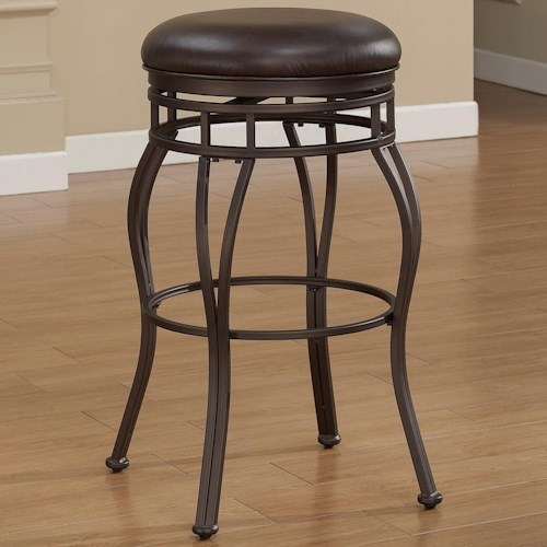 American Woodcrafters Barstools Backless Metal Stool with Upholstered Swivel Seat