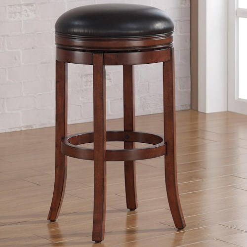 American Woodcrafters Barstools Backless Wood Swivel Stool with Upholstered Seat