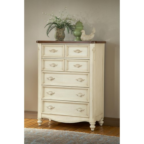 American Woodcrafters Chateau French Style Five Drawer Chest