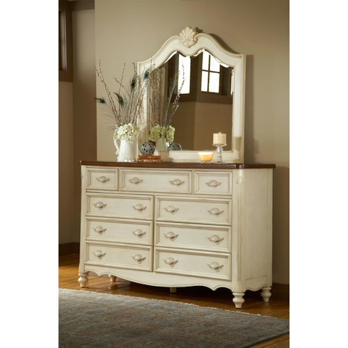 American Woodcrafters Chateau Triple Front Nine-Drawer Dresser and Mirror Set