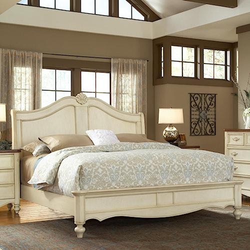 American Woodcrafters Chateau King Size Fleur-de-lis Headboard Bed