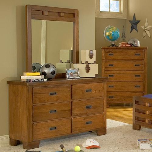 American Woodcrafters Heartland  Double Dresser w/ Vertical Mirror