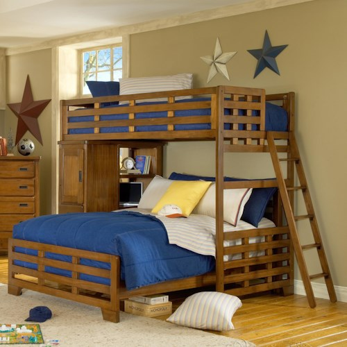 American Woodcrafters Heartland  Twin Loft Bed over Full Lower Bed & Bookcase
