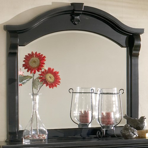 American Woodcrafters Heirloom Landscape Mirror with Arched and Moulded Top