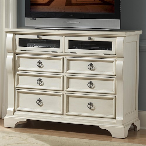 American Woodcrafters Heirloom Entertainment Chest with 6 Drawers