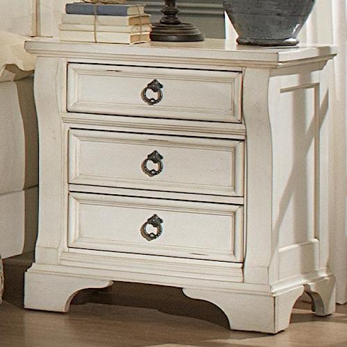 American Woodcrafters Heirloom Three Drawer Nightstand