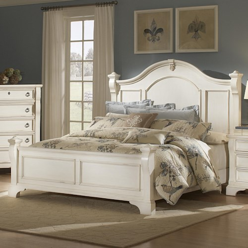 American Woodcrafters Heirloom Queen Low Post Mansion Bed