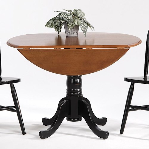 Amesbury Chair Creations II Drop Leaf Pedestal Round Table