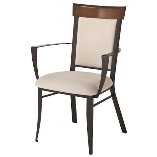 Amisco Countryside Eleanor Contemporary Dining Room Arm Chair with Upholstered Seat and Back