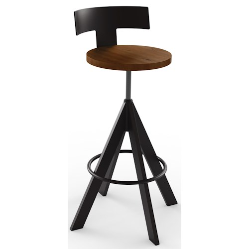 Amisco Industrial Uplift Adjustable Height Stool with Wood Seat and Low Back