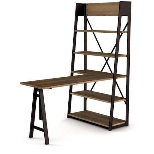 Amisco Industrial Solid Wood Table with Shelving Unit